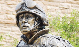 "A larger-than-life sculpture by Meeker sculptor John Kobald was dedicated July 4 in Meeker as the Rio Blanco County Veterans Memorial with the name of ""Sacrifice and Resolution."" The statue is on the lawn in front of the county courthouse with a duplicate slated for Rangely in 2014."