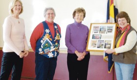 During the annual meeting of the Rio Blanco County Historical Society on Sunday this presentation was made to the to Rio Blanco County Rural School Research Committee and its members, from left, Martha Cole, Janet Clark, Marge Rogers and Ellene Meece.