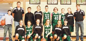 Representing the Rangely Middle School eighth-grade team in front are: Haley Elam, Elizabeth McCann, Vanessa Hamilton, Brynn Buckles, Klaire Denny and Katelyn Brown. In the back are: manager Tytus Coombs, coach Jeremy Lohry, manager Dalton Dembowski, Sarah Connor, Korryn Wenzel, Alexis Wiley, Alanna Wiley, Kaylee Mecham and coach Mark Skelton.
