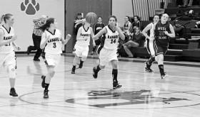 Rangely senior Tessa Slagle (14) passes the ball to senior Aimee Hogan (3). From left to right in the back row are junior Desiree Coombs (21), junior Simone Heinle (10) and freshman Katye Allred (20).
