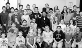 John Voehl of Littleton gave performances on Feb. 18 and 19 at Meeker High School and at Meeker Elementary School during his stay in Meeker. For the second year in a row, Voehl's adaptation of Abraham Lincoln enthralled those who saw him, courtesy of the Meeker Arts and Cultural Council and the Rio Blanco County Historical Society. Above, Voehl can be seen among the fifth-grade students at the elementary school.
