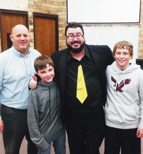 Barone Middle School Principal Jim Hanks, Jacob Pelloni, Chris Bowers and Doak Mantle.
