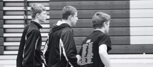Meeker senior wrestlers Aaron Cochran, Calvin Shepherd and J.C. Henderson (above) return to their team after the coin flip in Rifle. The three seniors will lead the No. 2 ranked Cowboys into the state-qualifying regional tournament at Grand Junction High School starting Friday at 6 p.m. and Saturday at 10 a.m.
