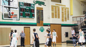 """It was too close for comfort,"" Rangely boys' basketball coach Eric Hejl said of the district tournament pig-tail game against Hayden, which the Panthers won for the first time in three years, to advance to the district tournament in Oak Creek as the No. 3 seed. The team will play Paonia at 7:30 p.m. on Friday. Panthers Colt Allred (31), Kaulan Brady, Cameron Enterline, Connor Phelan (10) and Andrew Morton (22) could only watch as Hayden's last shot, with no time on the clock, bounced off the rim and gave the Panthers a one-point victory."