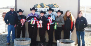From left to right are members and instructors with the Colorado Northwestern Community College Horse Show team in Rangely and their winnings over the weekend: Dustin Davis (equine program director and instructor), Courtney Hibbs, Amanda Witcher, Tasha Gibson, Amber Parmley, Jamie Levin, Cristy Brinkley and Stacey Bailey (equine instructor and IHSA Horse Show team coach).