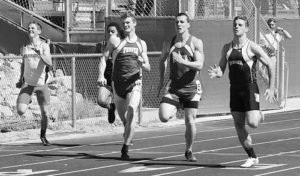 Meeker's defending Class 2A 100-meter dash state champion T.J. Shelton, right, is pictured running the 100 in the first track meet of the season in Rifle. Shelton won the race, then traveled to Denver to wrestle in the Rocky Mountain Nationals, where he finished seventh in the 18-and-under division. Sheridan Harvey was a runner-up in the 15-under division and Casey Turner placed fifth at Rocky Mountain Nationals.