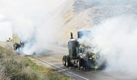 Fire on hay hauler shuts down Hwy 64