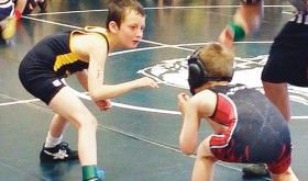 Meeker youth wrestler Coy Richardson was one of 42 members of the Meeker Community Wrestling Club to compete in the youth wrestling tournament in Rangely on Saturday.  More than 20 Meeker wrestlers placed in the top four in their divisions, and many will compete in Hayden on Saturday.