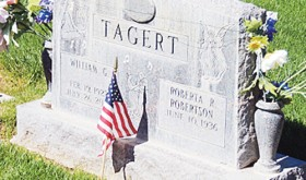 The headstone of Meeker's George G. Tagart at Highland Cemetery is decorated with an American flag to designate him as one of the many veterans buried in the local cemetry. The Meeker VFW performed ceremonies on the bridge over the White River in Meeker Town Park and then proceeded to hold another remembrance at Highland Cemetery.