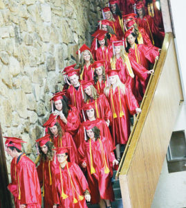 Members of the Colorado Northwestern Community College graduating class of 2014 start the procession down the steps of the Weiss Building to the Colorado Room, where commencement exercises took place Saturday afternoon. During the ceremony, 141 degrees were awarded to the graduates as 86 members of the classes actually took part in the event.