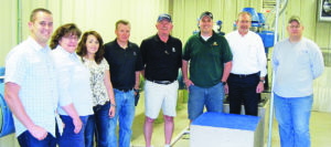 | bob lange photo | Present for an April 22 tour of the White River Intake Pumping House, were, from left: city employee Mark Chillson, Town Trustee Lisa Hatch, Rangely Area Chamber of Commerce Executive Director Kristin Steele, Town Trustee Andrew Shaffer, Mayor Frank Huitt, Mayor Pro Tem Brad Casto, Town Manager Peter Brixius and Water Utilities Supervisor Alden Vanden Brink.