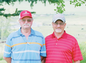 Meeker's Clint Chappell and George Back, above right, won the B-flight in a field of 10 teams. The Ladies Deerfly tournament will be held June 7.