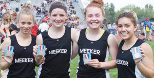 Meeker freshman Halle Ahrens broke her own record in the 200 set two weeks earlier and placed in four events, including two relays, one of which (4x100 with Madison Russell, Ahrens, Sydney Hughes and Linda Olivas) also broke a school record they set the week before.