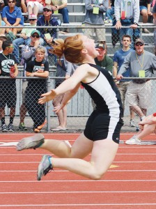 Sydney Hughes, pictured triple jumping, always lets it all out when she competes.