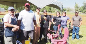 From left, Bobby Gutierrez of Cuppa Joe, chef and Meeker Town Board of Trustees member Scott Creecy of Elk Creek Ranch, his helpers Colin Loomis and Nicholas 'Pickles' Palmer, and Shelby Klinglesmith, Monica Matlock and Austin Brown of Smokin' 101 BBQ, kept the folks at Meekerpalooza well fed. The food booths were a success with much of the food selling out.