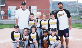 The 2014 summer youth baseball and softball seasons, sponsored by the ERBM Recreation and Parks District includes two 8-10 teams, one 11-12 team and one 8-10 softball team. Pictured playing for Meeker 2 in front are: Damek Chintala, Jacob Blazon, Clay Stewart-Randall, Troy Mataia and Damon Dade. Standing, coach Donald Blazon, Ryan Sullivan, Gabriel Ricardson, Dagon Dade, Brendan Clatterbaugh and coach Ron Kelly Crawford. Games are played Mondays and Wednesdays through June 27, when the post season tournament will be played in Meeker. Meeker 2 will host Craig on Monday, June 16 at Paintbrush Park starting at 6 p.m.