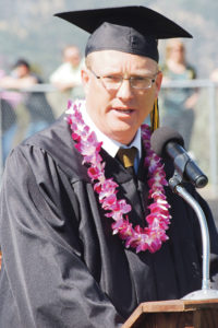 Meeker High School coach and instructor Klark Kindler gave the commencement address much to the delight of many of the seniors, their families and their friends.