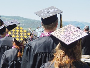 Members of the senior class took the time to decorate the top of their mortarboards for Saturday's commencement.