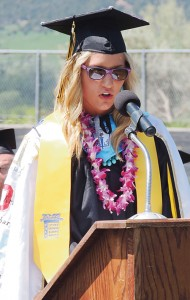 Taylor Neilson presented the valedictorian's address for having the highest grade point average in the senior class.