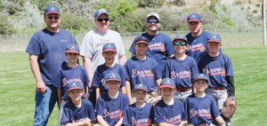 Pictured in a team photo taken at the beginning of the season, the Rangely Braves are: top, coaches Ken Myers, Stan Wagner, Brian Winder and Kyle Wren; middle, Kevin Wren, Josh Dunn, Justin Cudo, Keihlin Myers and Ben Nielson; bottom, Drake Miller, Marstan Wagner, Angleo Friedrich, Sean Schultz and Fisher Winder
