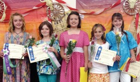 Winners of their various classes in the Rio Blanco County Fair fashion review competition are, from left to right: Kolbi Franklin, Hadley Franklin, Tacy Crawford, Jayden Overton-Linsacum and Sarah Kracht. The fashion review judging was done on July 10.