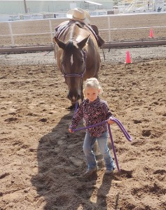 Molly Broman of Meeker got an early start Saturday getting in some practice for the pee wee lead class along with her horse Lucky. Walking your horse is a large part of the pee wee competition, and Molly wanted to make certain that she and Lucky were comfortable with each other.