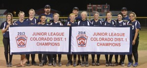 The Colorado River Valley All-stars, which includes four girls from Meeker, three from Rangely and three from New Castle, won the District 1 championship for a second year in a row and will represent the western slope in the state tournament in Denver. Pictured with the championship banner are: Coach Andy Shaffer, Sidney Shaffer, Sierra Williams, Coach Kelly Brown, Micheala Jones, Kaitlyn Jackson, Jasmine Patterson, Kassidee Brown, McKenzie Diaz, Taylor Dodds, Kara Morgan, Katelyn Brown and Coach Rick Dodds.