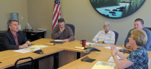 U.S. Rep. Cory Gardner, top left, was in Meeker on Friday to meet with the Rio Blanco County commissioners and officials of the White River and Douglas Creek conservation districts regarding federal issues of local concern. From left to right are: U.S. Rep. Gardner, Commissioner Shawn Bolton, Commissioner Jon Hill, Commissioner Jeff Eskelson and Callie Hendrickson, the executive director of the conservation districts.