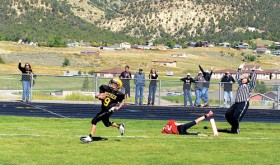 Cole Rogers intercepted a pass and returned it for a touchdown with 12 seconds left in the game to give Meeker's Barone Middle School a come-from-behind 12-6 victory over Steamboat Springs last Saturday.