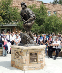 """The Rio Blanco County Veterans Memorial, titled """"Sacrifice and Resolution,"""" which now stands in front of the county courthouse in Meeker, was dedicated July 4, 2013."""