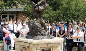 "The Rio Blanco County Veterans Memorial, titled ""Sacrifice and Resolution,"" which now stands in front of the county courthouse in Meeker, was dedicated July 4, 2013."