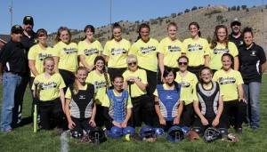Members of the Meeker High School softball team are, from left, back row: coach Rick Dodds, Sarah Gerloff, Caroline Copeland, Taylor Frantz, Christina Pryce, Maria Gonzalez, Jasmine Patterson, Julia Christenson, Charisma Plantiko and coach Lance Pryce. Middle row, from left: coach George Ibarra, Abbey Morgan, Taylor Dodds, Kendra Nelson, Kaitylyn Shrode, Sidney Ferguson and coach Briana Williams. Front row, from left, are: Elaina Lewis, Katelyn Ibarra, Breanne Baker and Sierra Williams.