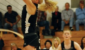 Megan Parker goes up for a block during the Meeker High School girls' regional volleyball tournament at Paonia as Maggie Phelan watches. The team lost in the tournament, ending the season, but MHS Coach Janae Stansworth is highly optimistic for next year with quality underclassmen returning.