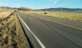 Skid marks indicate the route a Ford Explorer took off of eastbound Highway 64 on the afternoon of Nov. 19, leading to the injury of five Meeker residents. According to the Rio Blanco County Sheriff's Office, the car left the pavement, did a twist of 180 degrees as it left the roadway, then rolled two and half times, coming to a stop on its roof, 85 feet off Highway 64. Four passengers were airlifted to Grand Junction, one was hospitalized in Meeker. According to the county sheriff's office, the incident is still under investigation.