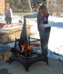 She also gave instructions on the correct way to burn a damaged flag, including cutting it up into three portions of red and white stripes and one section of the blue and white stars, called the Union, demonstrated by auxiliary member Colleen Patterson. The VFW also provided lunch for veterans at Barone Middle School.