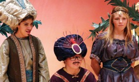 "There were 64 Rangely and area children who took part in the Missoula Children's Theater production of ""Aladdin"" on Friday at the Rangely Junior/Senior High School auditorium. Three of the top four lead roles went to Rangely children including Tommy Jarvis, above, as Aladdin, Phalon Osborn as Princess Dory and Alexis Wiley as Dinozade."