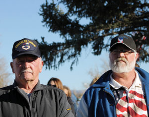"""Two Rangely veterans and members of the Rangely Elks Lodge were among the hundreds of people who attended the Veterans Day dedication of the Rangely memorial to all county veterans, titled """"Sacrifice and Resolution."""" Above are, from left, Elks past Exalted Ruler Tink Wilson and current Exalted Ruler Don Reed."""