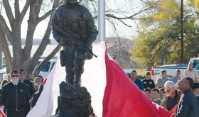 "Veterans from World War II and the Korean War unveiled John Kobald's ""Sacrifice and Resolution"" memorial for all Rio Blanco County veterans on Tuesday afternoon in Rangely."
