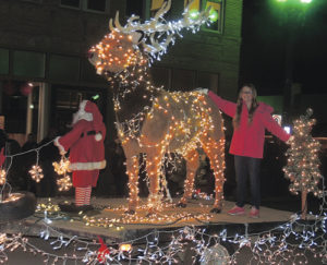 Santa, a huge lighted elk and Madison Kindler shared the float put together for Rocky Mountain Hair Benders, a nail and hair salon in Meeker. While the weather was cool for the Meeker Parade of Lights and other events, it was notably about 40 degrees warmer on the night of the events, held Dec. 3, than it was for last year's parade.