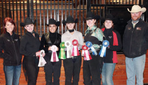 Pictured are members of the Colorado Northwestern Community College Equine Team, which competed Nov. 5 in Montana. From left to right are: equine team instructor and IHSA coach Stacey Bailey, team members Tasha Gibson, Catalina Lagüera, Kelsey Priestley, Amber Parmley and Kathryn Costales, and equine instructor and equine program director Dustin Davis.