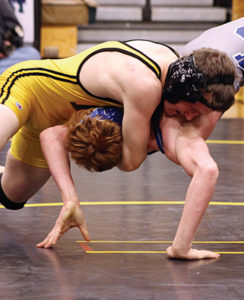 Meeker High School wrestler Tristan Pelloni, left, has his opponent in a bridge during a match against Moffat County earlier this season. The MHS Cowboy wrestlers  will host Palisade and Hayden in a triangular meet tonight at home. The matches will begin at 5:30 p.m. The public is encouraged to go and watch and cheer on the Cowboy grapplers.