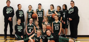 The Rangely Middle School seventh-grade team will play in Oak Creek tonight and host Meeker on Saturday. Playing on the team are, in front: Audrey Patch, Susie Gillard and Dustie Nelson. In the middle row are: Bayliegh Wilson, Zoey Peck, Taylor Lance, Grace Sheridan and Meghan Ward. In the back row are: coach Mark Skelton, Zoe Sheppard, Kaitlyn Willis, Kacie Lapp, Mariah Vaughn, Carrie Wilson, Jayleen Kenney and coach Jimmie Mergelman.