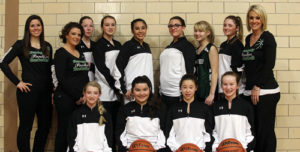 The Rangely Middle School eighth-grade girls' basketball team beat Steamboat Springs in Meeker on Saturday but lost to the Meeker home team. Playing on the team this season are, in front row: Marlana Miller, KC Mercardo, Skylar Thacker and Kassidee Brown. In back row: assistant coaches Rozilyn Witherell and Angie Kenney, Raelynn Norman, Makenze Cochrane, Kaylalle Fortunato, Alexis Willey, Aspen Rhea, Alanna Willey and head coach Jessica Fortunato.