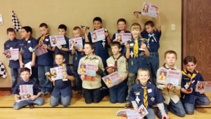 Rangely Cub Scout packs No. 189 and No. 191 held their annual Pinewood Derby on Feb. 4. Eighteen boys ran their cars 14 times each. First place went to Joseph McKay, second place went to Justin Allred and third place went to Jeffrey Slack. The Sportsmanship Award went to Ashton Bennett.