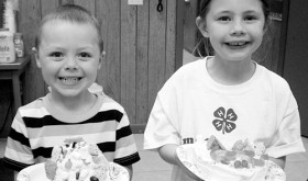 At the January meeting of the 4-H Cloverbuds, the kids practiced the 4-H pledge and had a great time learning about cake decorating. The Cloverbuds Club is for kids ages 5-7 who would like to see what 4-H has to offer. The club's next meeting will be held from 4 to 5:30 p.m. on Wednesday at the Rio Blanco County Fairgrounds in Meeker. The kids will have an opportunity to try their hand at leather crafts and enjoy a healthy snack. The public is invited. Pictured above are Holt Pelloni and Skylar Grimes.