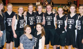 "The Barone Middle School eighth-grade girls' basketball A Team capped off an undefeated (11-0) season Saturday in Meeker, beating Rangely in the championship game of the league tournament. The A-team only lost one game last year and head coach Jamie Rogers is excited about their future. ""This is a really strong and fun group of girls,"" coach Rogers said. ""They are good to each other and take care of each other. They will be a group to look out for. Standing next to coach Rogers are: Anderson Urista, Kenzie Turner, Kassie and Krissie Luce, Megan Shelton, Gracie Bradfield, Allison Moon and Torri Lasker. In front are manager Abby Moon and Lila Klinglesmith."