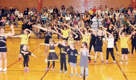Meeker High School cheerleaders worked with elementary kids last week and the group performed a dance during halftime of a recent high school basketball game.