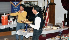 "On Sunday, the masonic brothers of Rio Blanco Lodge No. 80, AF&AM, held their annual celebration of George Washington's birthday with food, refreshment and a dessert auction. The proceeds of the auction go toward scholarships for local high school graduates to attend in-state schools. George Washington was initiated into Freemasonry in October 1752, at the age of 20 and by August of the following year was raised to Master Mason. Although there were many masons during our nation's founding years, George Washington is held by many as one of the finest examples of duty to God, our nation, our neighbors and ourselves. This year marks the 125th anniversary of the charter for Meeker's Rio Blanco Lodge No. 80 and members look forward to a new year of brotherly love, truth and charity. Left, friends and Masons celebrate George Washington's birthday as auctioneer Paul ""Buckshot"" Sheridan and Danny DeWitt help the Masons support local scholarships."
