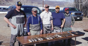 Taking part in the White River Community Association Fishing Tournament on March 14-15 was a full field of 10 teams, the largest number ever, out to catch whitefish for the community fish fry on June 13 to raise funds for Buford School. Pictured is the Rio Blanco Abstract team with its catch of the day.