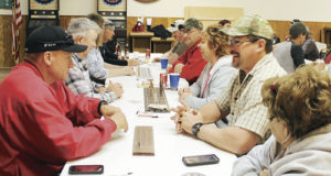 The fourth annual Carl Rector Memorial Cribbage Tournament was held Saturday in Rangely with 16 players from around Northwestern Colorado. The winner was Jim Baffam of the Maybell/Craig area and second place went to Tim Webber of Rangely, both of whom won new cribbage boards. Also among the players was Rio Blanco County Sheriff Anthony Mazzola, second from right, and, according to Peggy Rector, front right, two women took part. Sitting next to the sheriff are, his wife, Cheryl of Meeker, and Margaret Slaugh of Rangely, back left, who agreed that the game is fun and that anyone can learn to play.